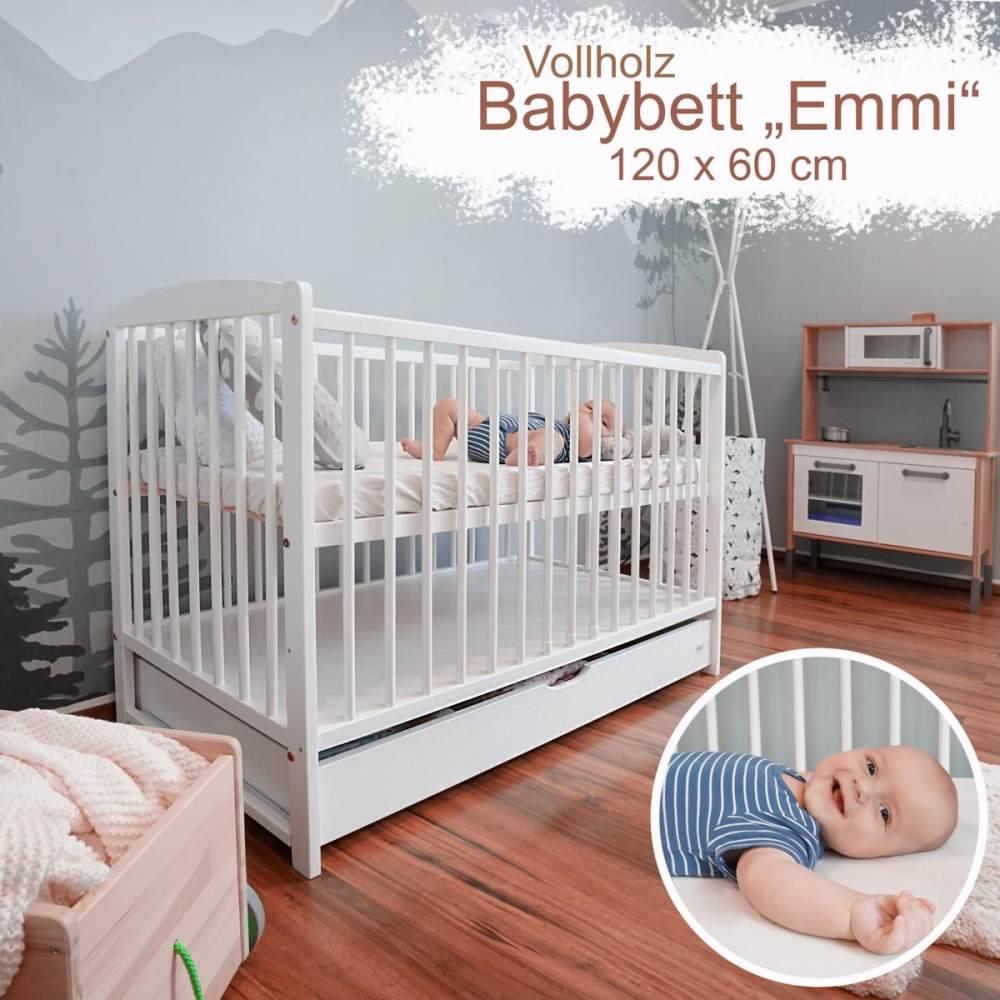 Alcube 'Emmi' Babybett 60 x 120 cm weiß, mitwachsend, mit Bettkasten Bild 1