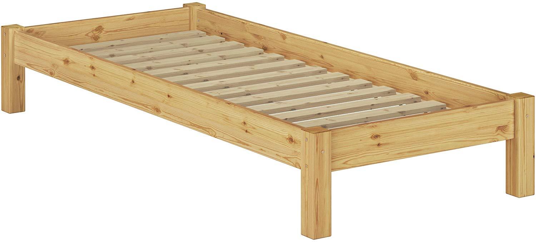 Erst-Holz Einzelbett natur, 80x200 cm, Kiefer massiv, inkl. Rollrost Bild 1
