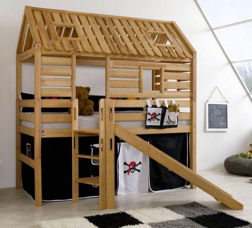 Relita 'Tom´s Hütte' Hochbett inkl. Stoffset 'Pirat' und Matratze Bild 1