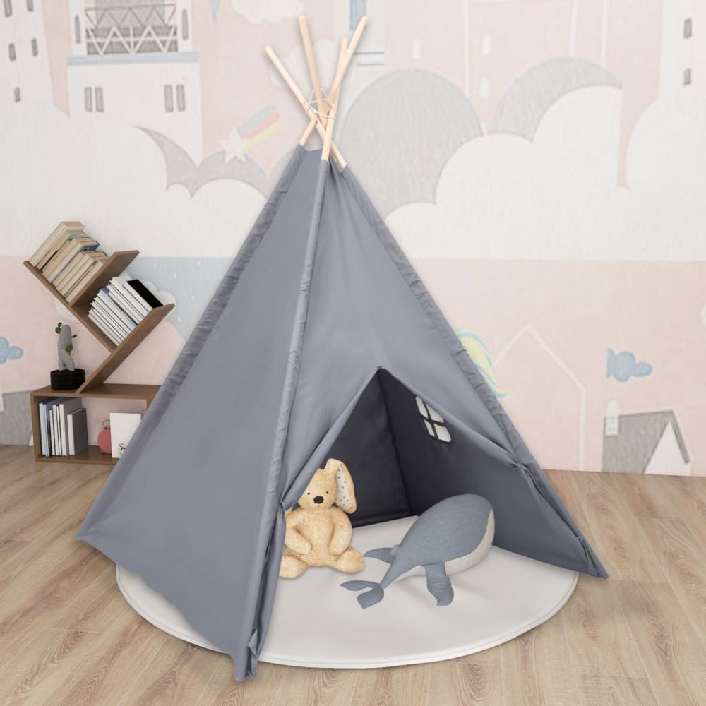 vidaXL Kinder Tipi-Zelt mit Tasche Pfirsichhaut Grau 120x120x150 cm Bild 1