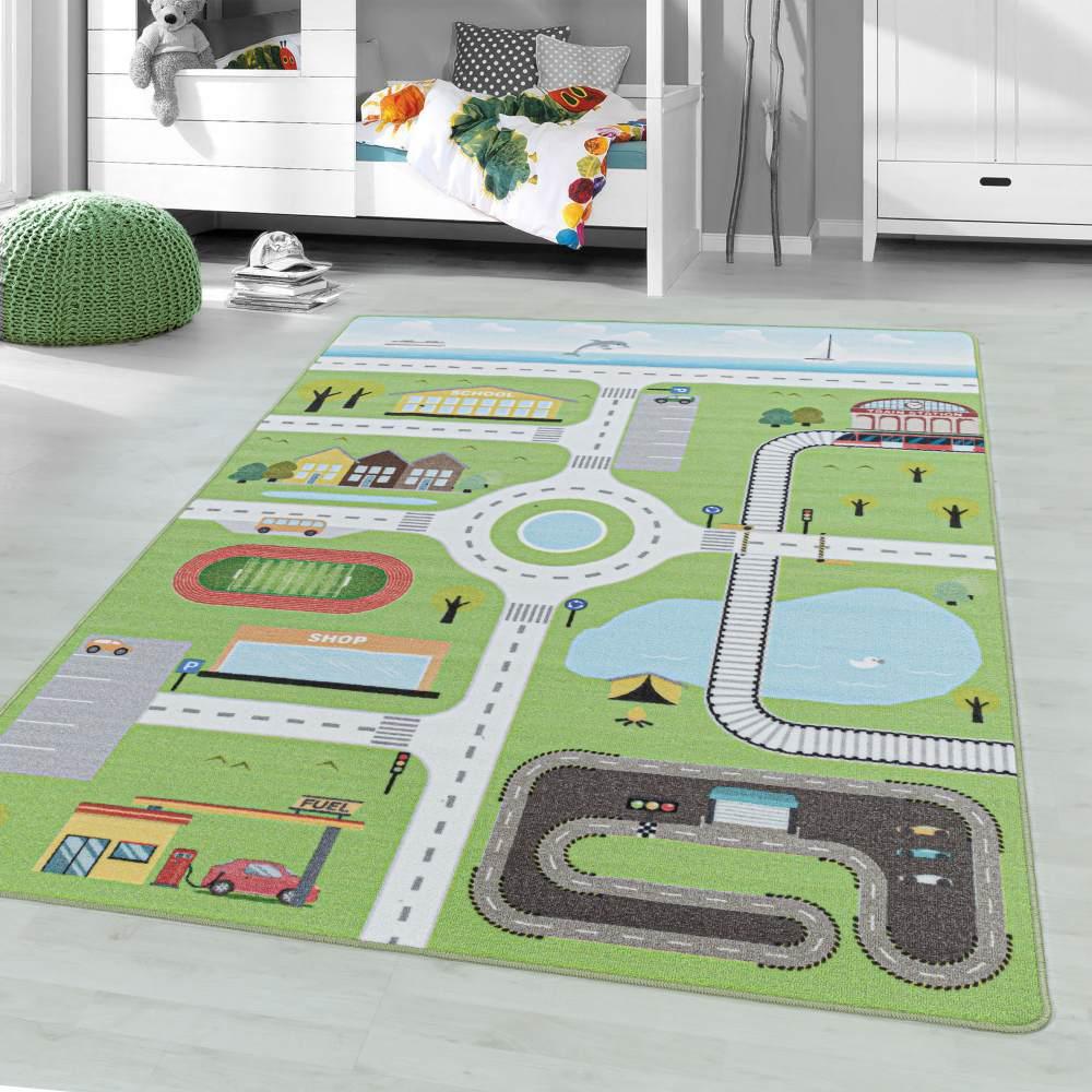 Kinderzimmer Kinderzimmerteppich 140x200 Grün Bild 1