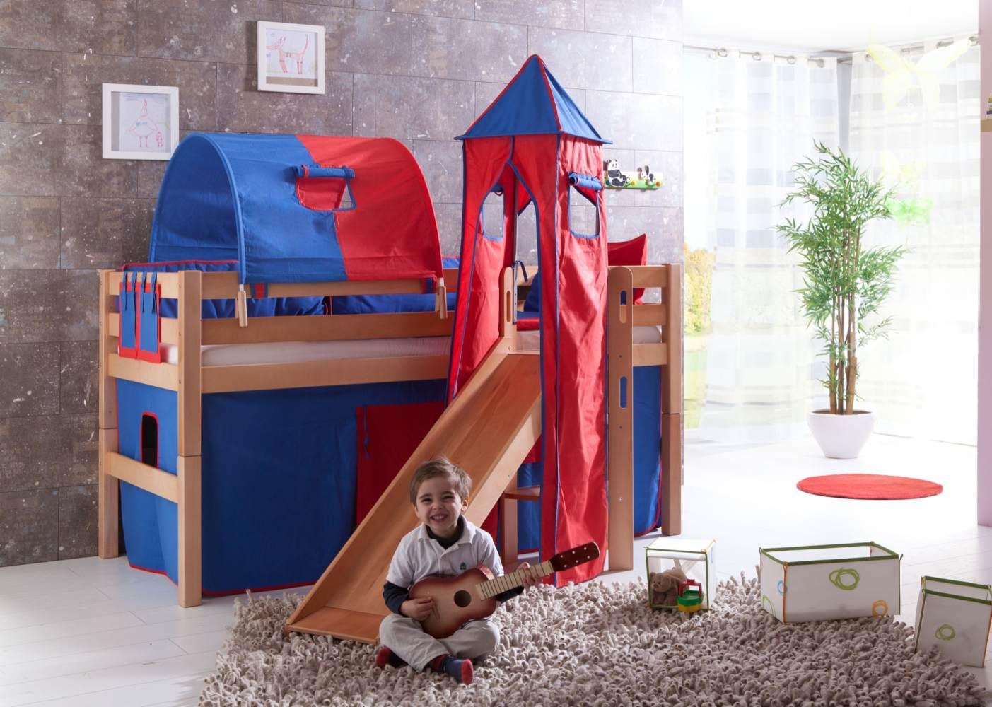 Spielbett Eliyas mit Rutsche und Textilset Vorhang, 1-er Tunnel, Turm und Tasche Bild 1