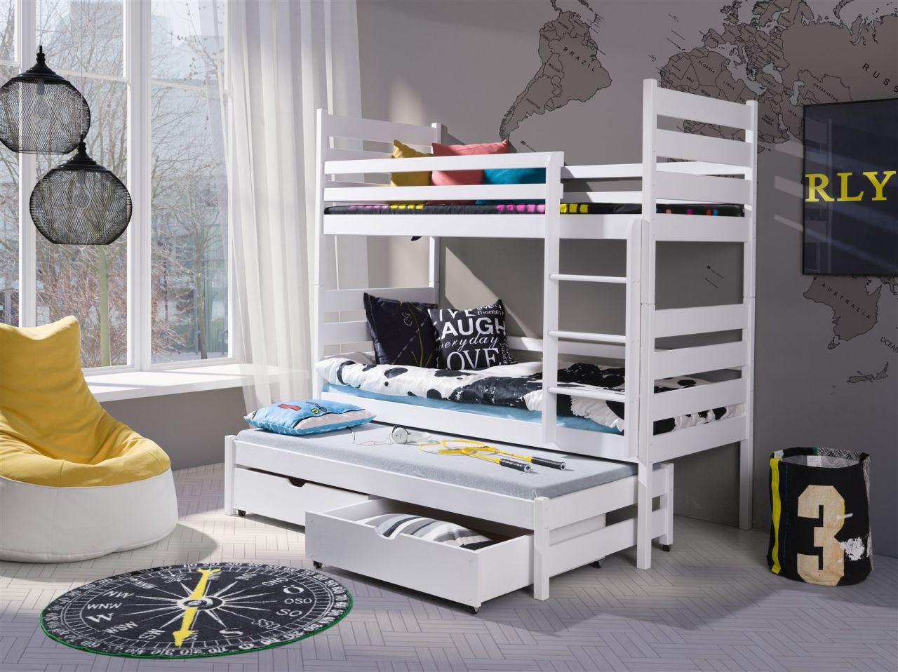 Fun Möbel 'Samuel XL' Etagenbett inkl. Rollrost und Gästebett, weiß Bild 1