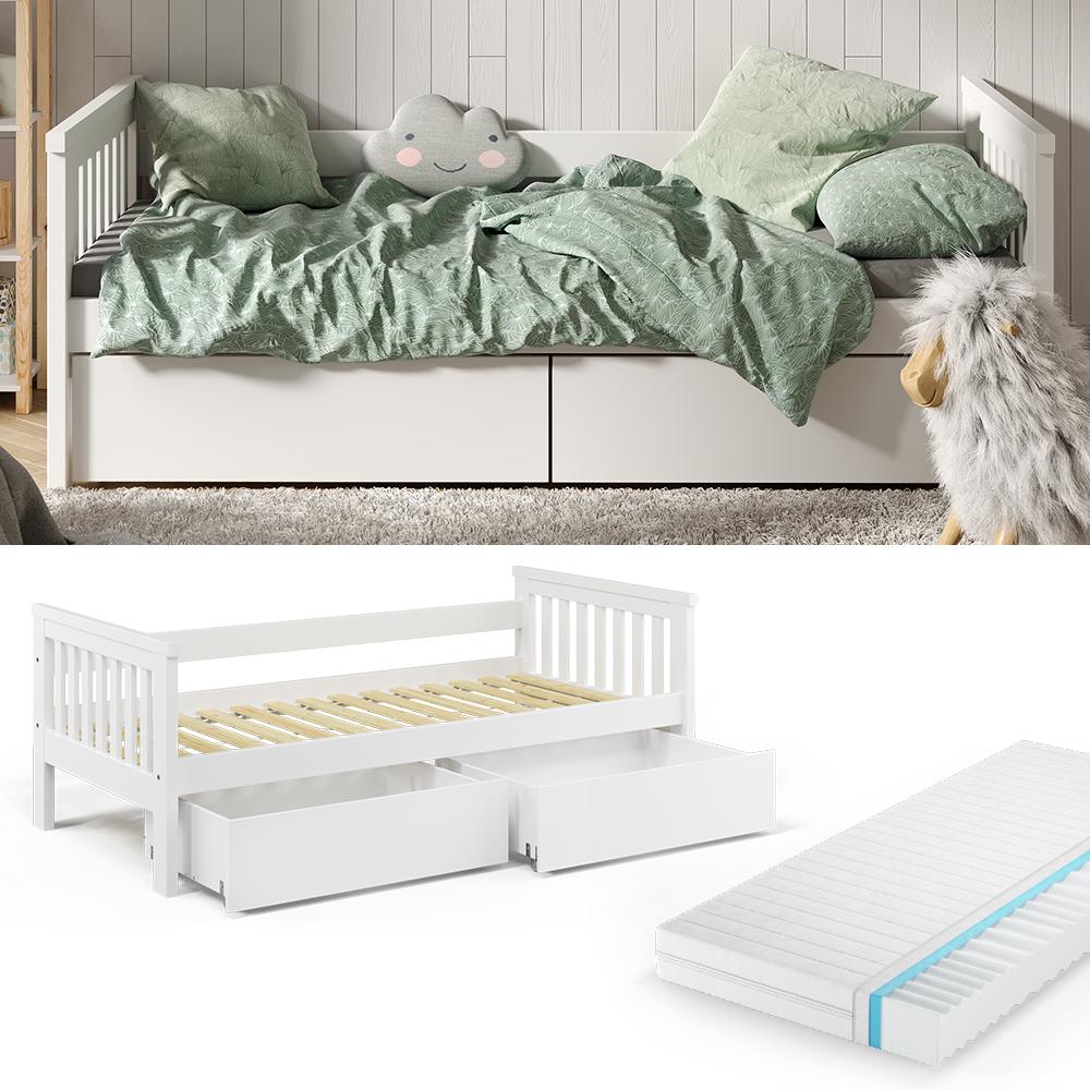 VitaliSpa 'Luna' Kinderbett, weiß, 90x200cm, inkl. Matratze und Bettschubladen Bild 1