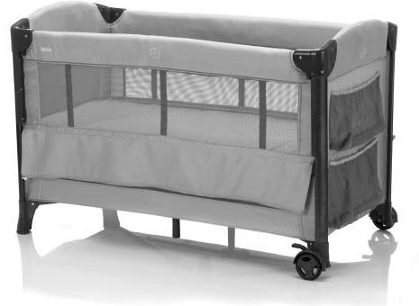 Mica Reisebett 60x120 cm, grau, mit Sicherungsgurt und Transporttasche Bild 1