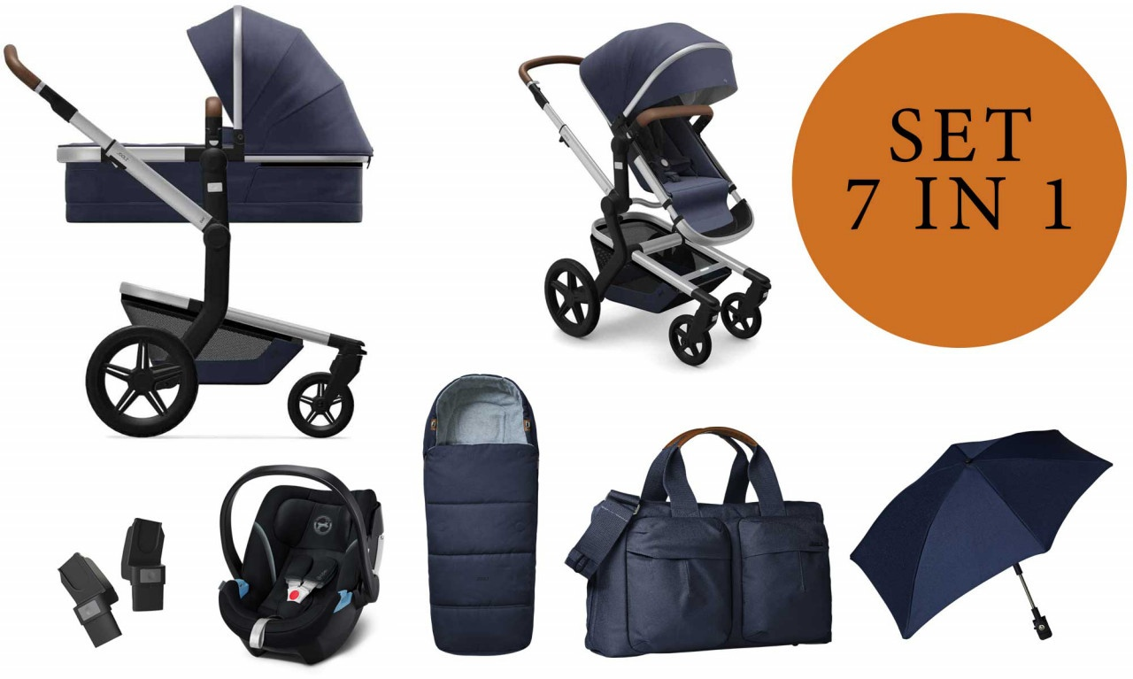 Joolz 'Day+' Kombikinderwangen 4plusin1 2020 in Classic Blue, inkl. Cybex Babyschale in Soho Grey Bild 1