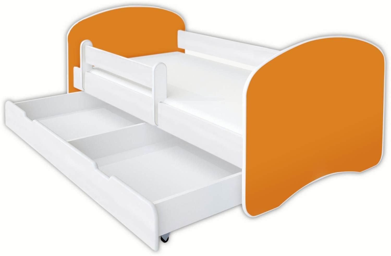 Clamaro 'Schlummerland UNI' Kinderbett 70x140 cm, Orange, inkl. Lattenrost, Matratze, Rausfallschutz und Schublade Bild 1