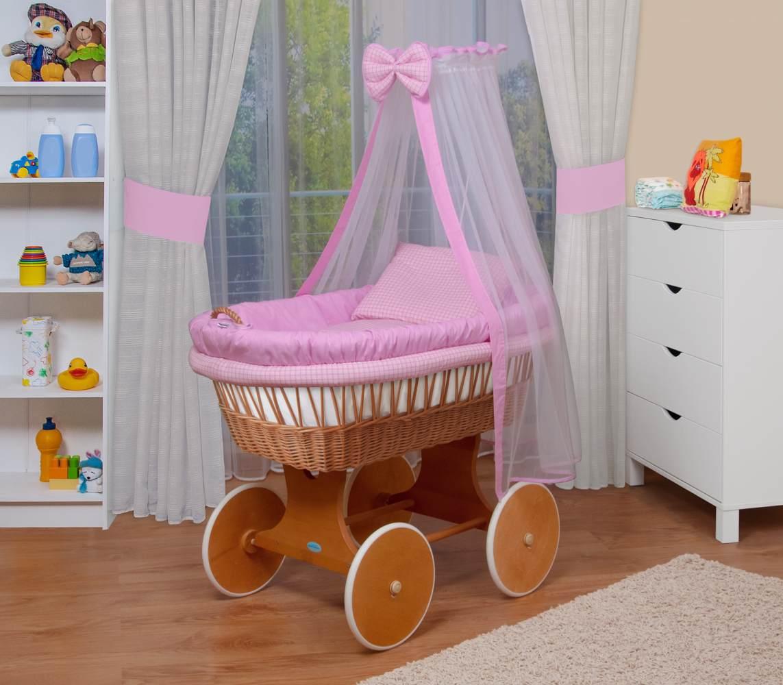 WALDIN Baby Stubenwagen-Set mit Ausstattung, Gestell/Räder natur lackiert, Ausstattung rosa kariert Bild 1