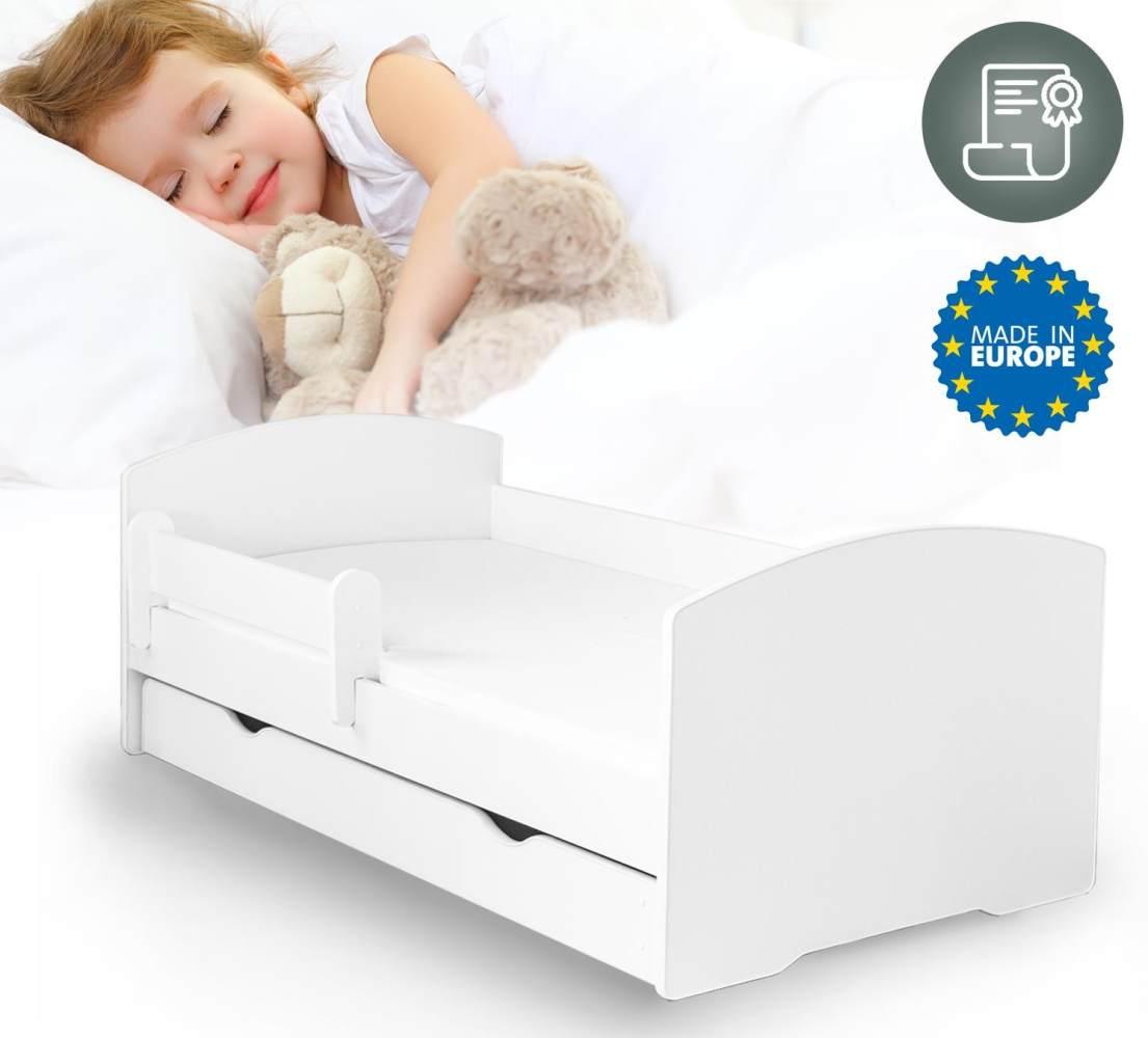 Alcube 'Oskar' Kinderbett 80x180 cm mit Rausfallschutz, Lattenrost, Matratze und Schublade, weiß Bild 1