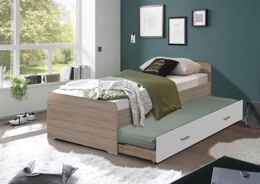Bega 'Emil' Funktionsbett 90x200 cm, Eiche Sonoma / weiß, Bett + Matratze (blau) Bild 1