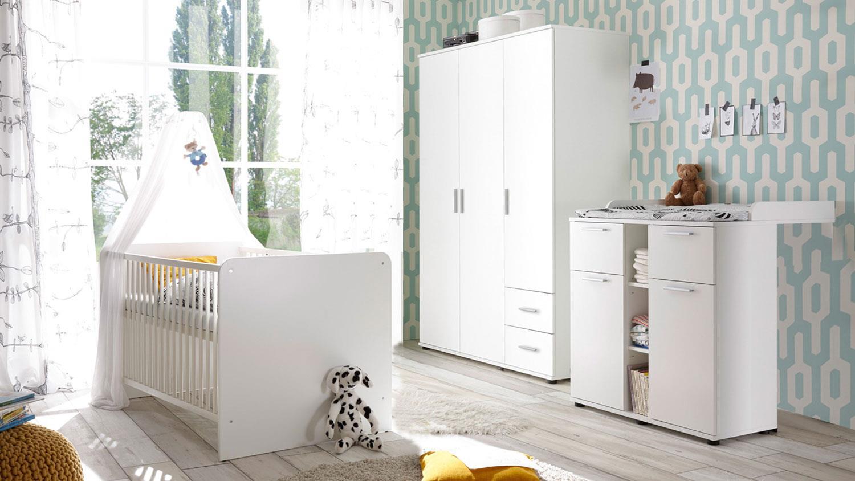 3-tlg. Babyzimmer-Set 'Bibo 2' weiß Bild 1