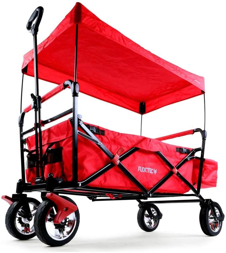 FUXTEC 'FX-CT500' Bollerwagen in Rot, inkl. Sonnendach, Hecktasche und Feststellbremse, klappbar Bild 1