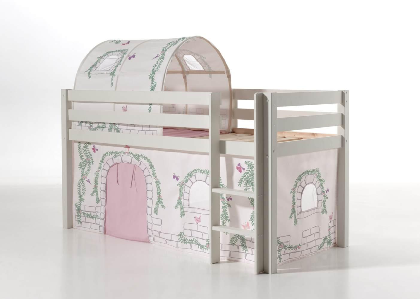 Vipack 'Pino' Spielbett weiß mit Vorhang und Tunnel 'Birdy' Bild 1
