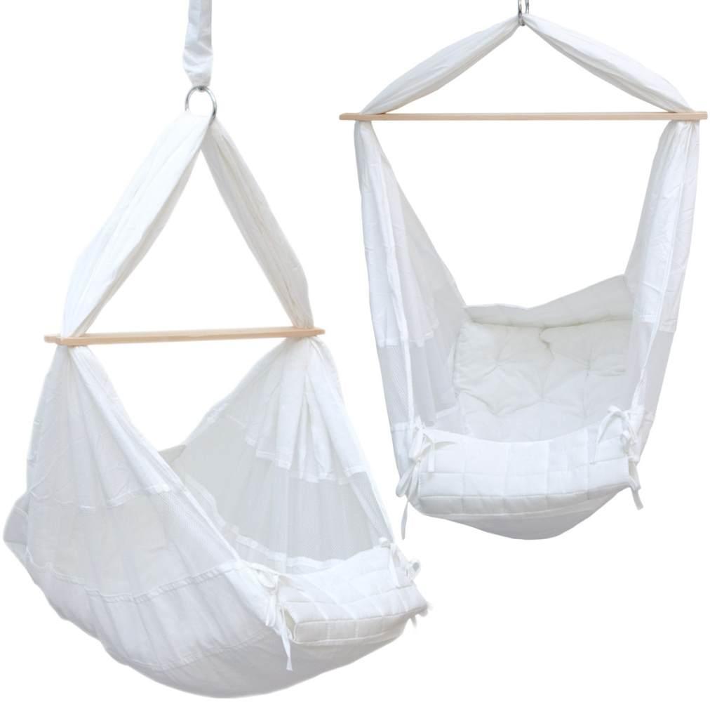 Babyhängematte Baby-Feder-Wiege mit Spreizstab | 100% Baumwolle Naturstoff | Kinderhängematte Hängewiege | Babyschaukel in Weiß | Balstbarkeit max. 15KG Bild 1
