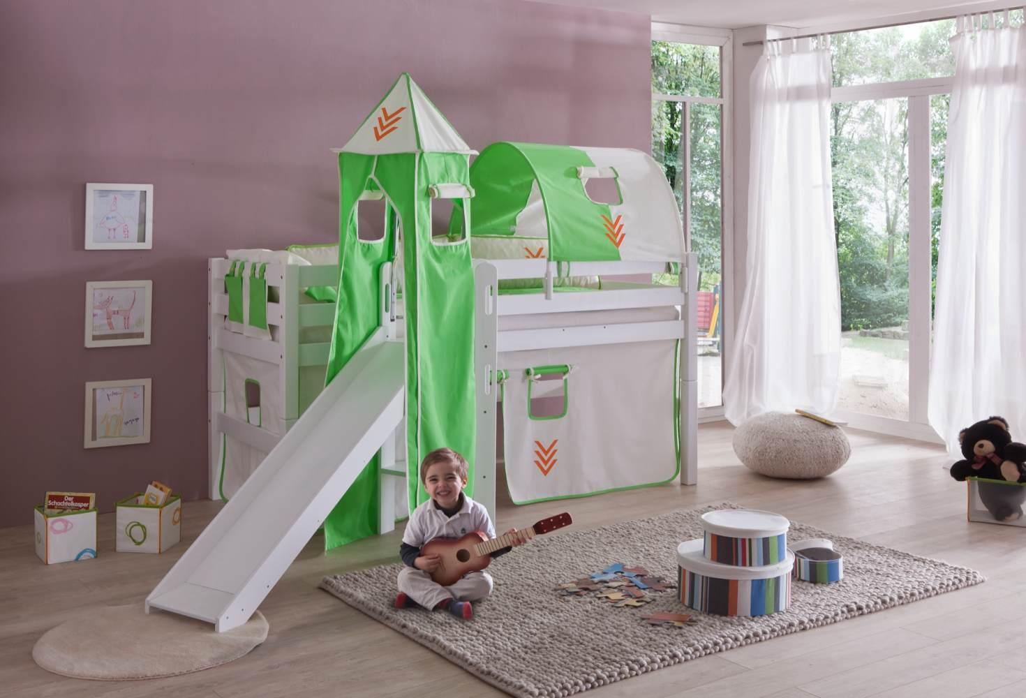 Relita 'Eliyas' Spielbett weiß inkl. Rutsche und Textilset Vorhang, 1-er Tunnel, Turm und Tasche 'Indianer' Bild 1