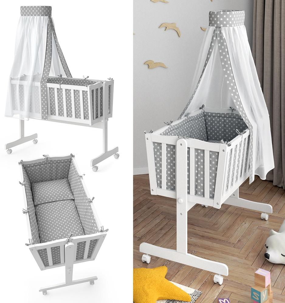 VitaliSpa 'NOAH' Babywiege inkl. Ausstattung, weiß/grau Bild 1