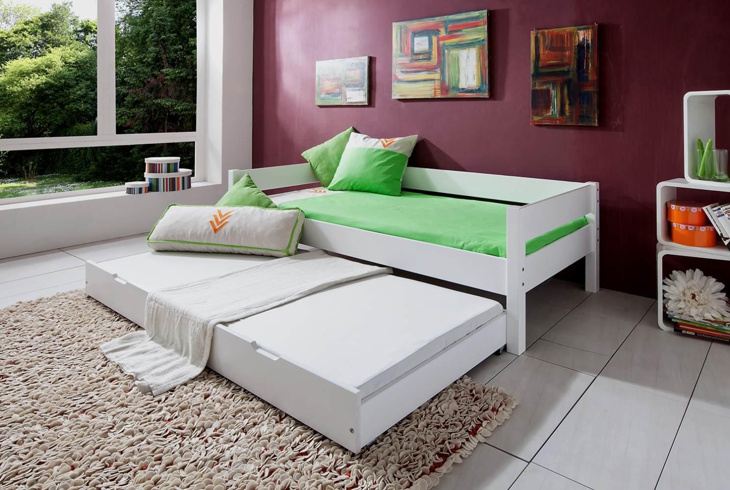 Einzelbett Nik mit Bettkasten in Buche massiv, weiß lackiert, Liegefläche 90x200 cm Bild 1