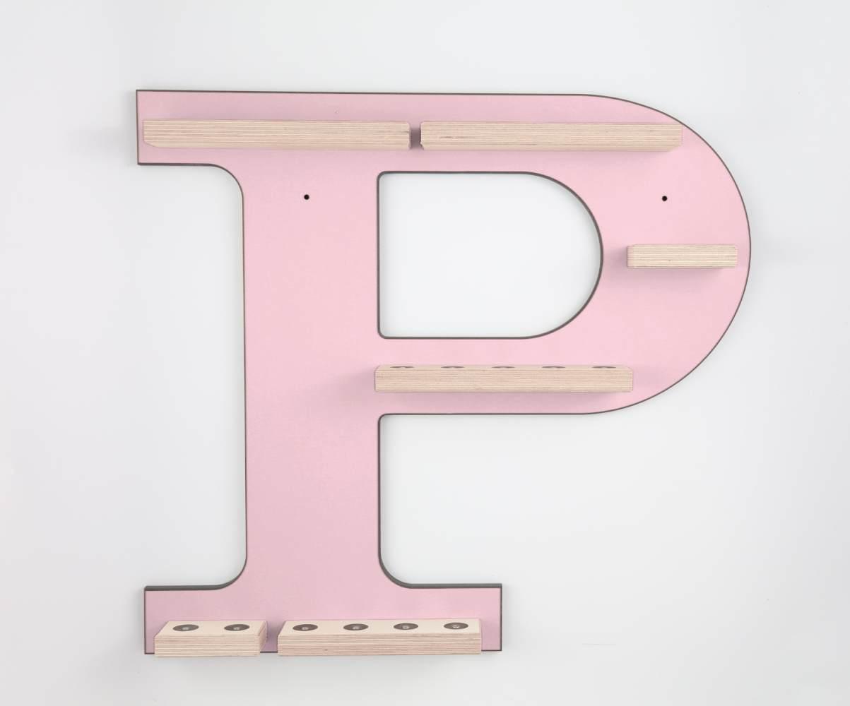 Schreinerei Linden 'Buchstabe P' Tonie Regal ohne Musikboxhalter, rosa Bild 1