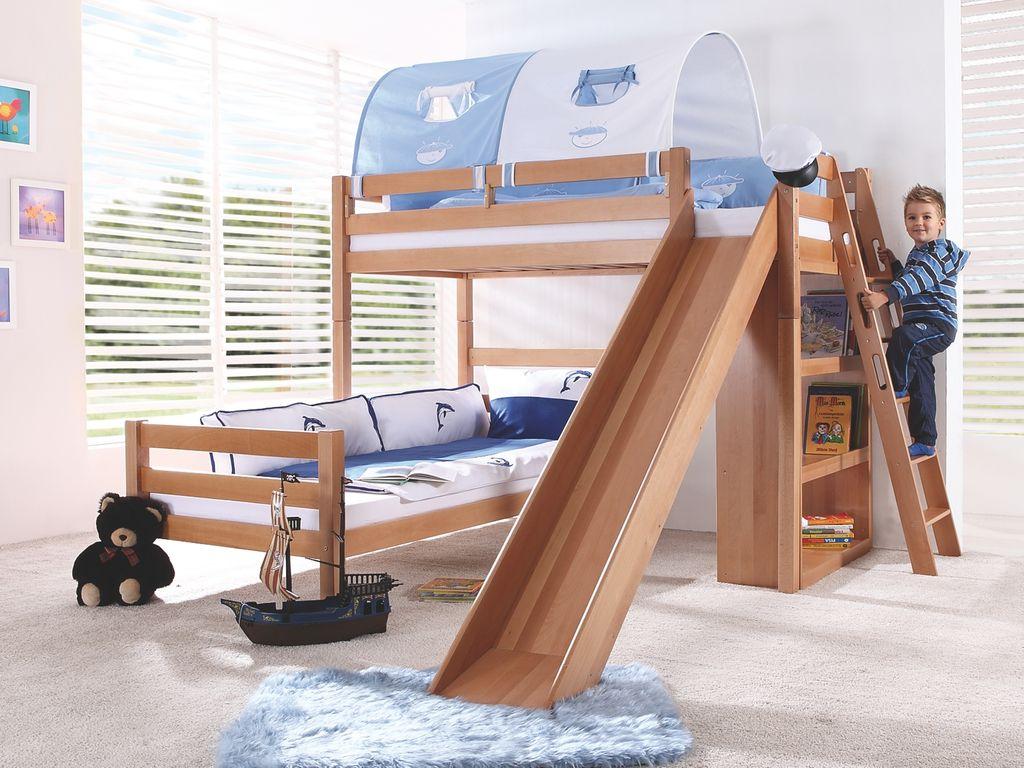 Relita 'SKY' Etagenbett mit Rutsche natur, inkl. Stoffset 'Blau/Boy' mit 2 Matratzen Bild 1