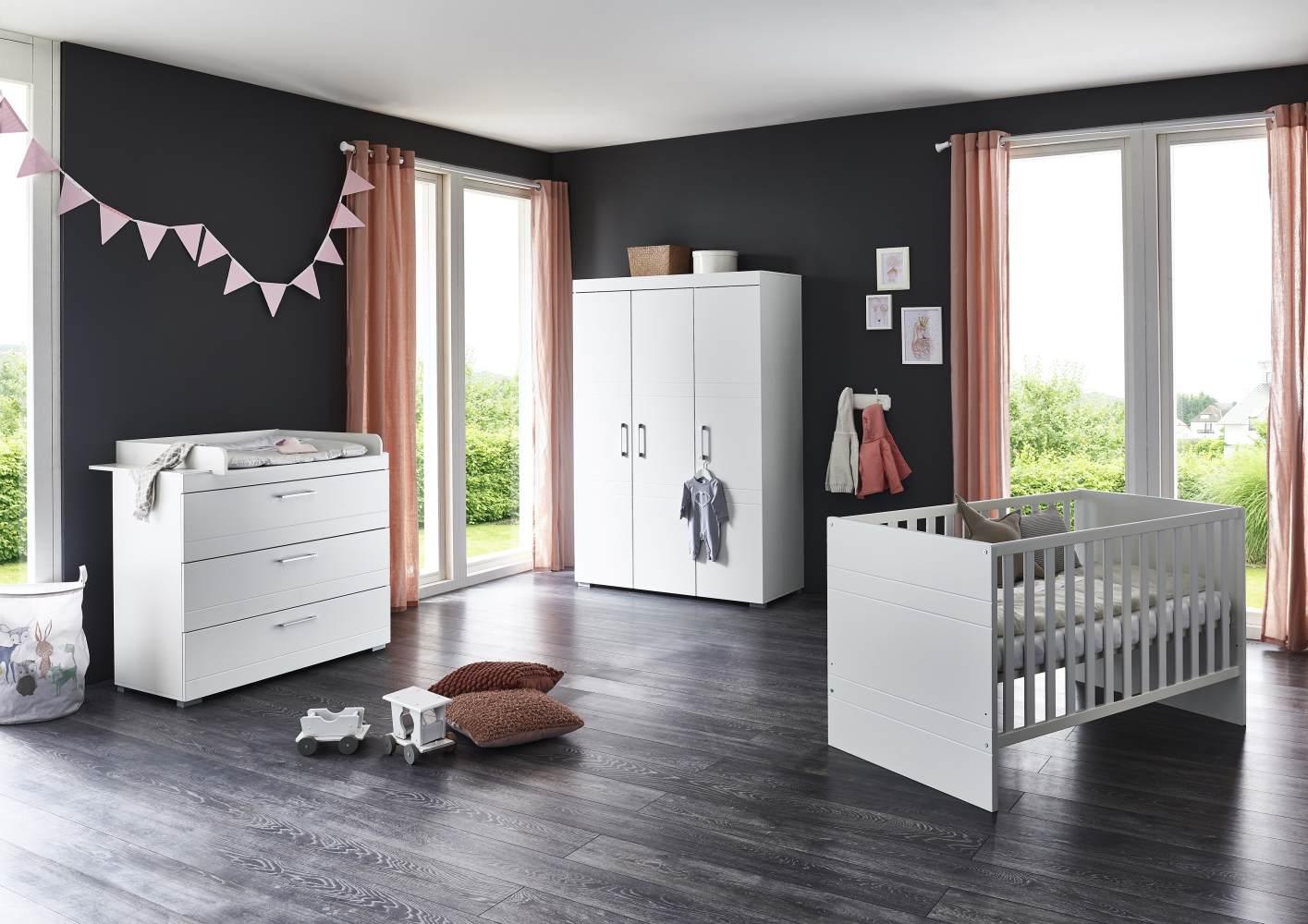 Arthur Berndt 'Liene' Babyzimmer Komplettset 3-teilig, Kinderbett (70 x 140 cm), Wickelkommode mit Wickelaufsatz und Kleiderschrank MDF Weiß Strasssteine Bild 1