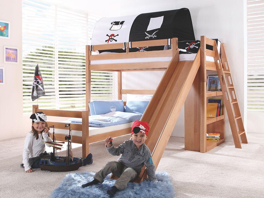 Relita 'SKY' Etagenbett mit Rutsche natur, inkl. Stoffset 'Pirat' mit zwei Matratzen Bild 1