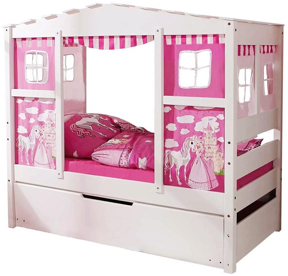 Ticaa 'Horse Pink' Hausbett Mini weiß inkl. Bettkasten 'Marianne' Bild 1