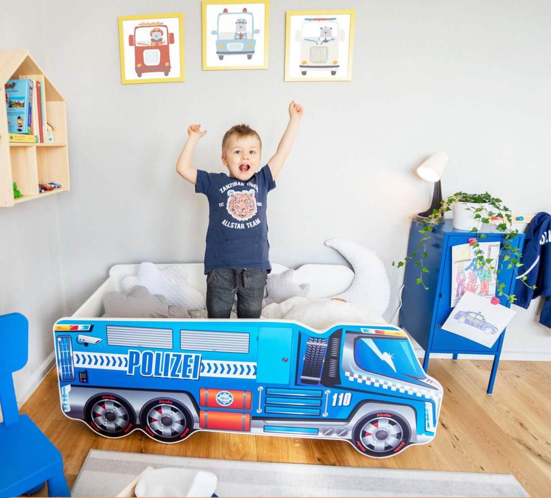 Alcube 'Polizei' Autobett 140 x 70 cm inkl. Lattenrost und Matratze, blau Bild 1