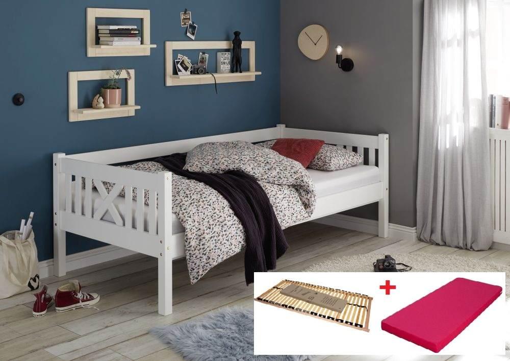 Bega 'Trevi' Kinderbett 90x200 cm, weiß, Kiefer massiv, inkl. Lattenrost und Matratze (pink) Bild 1