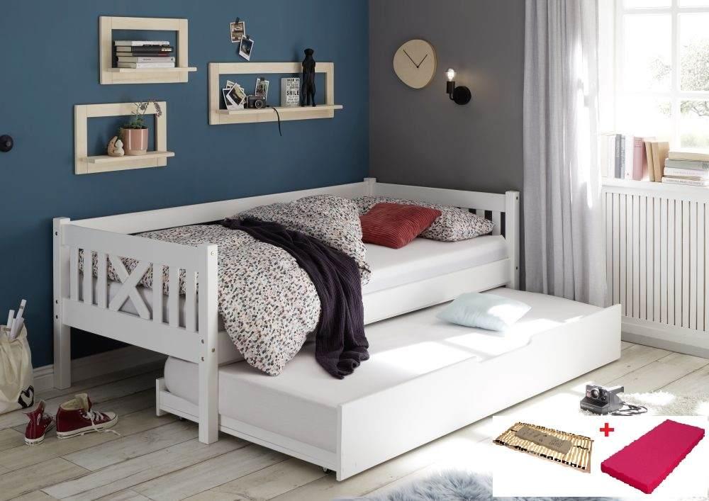 Bega 'Trevi' Kinderbett 90x200 cm, weiß, Kiefer massiv, inkl. Bettliege, Lattenrost und Matratze (pink) Bild 1