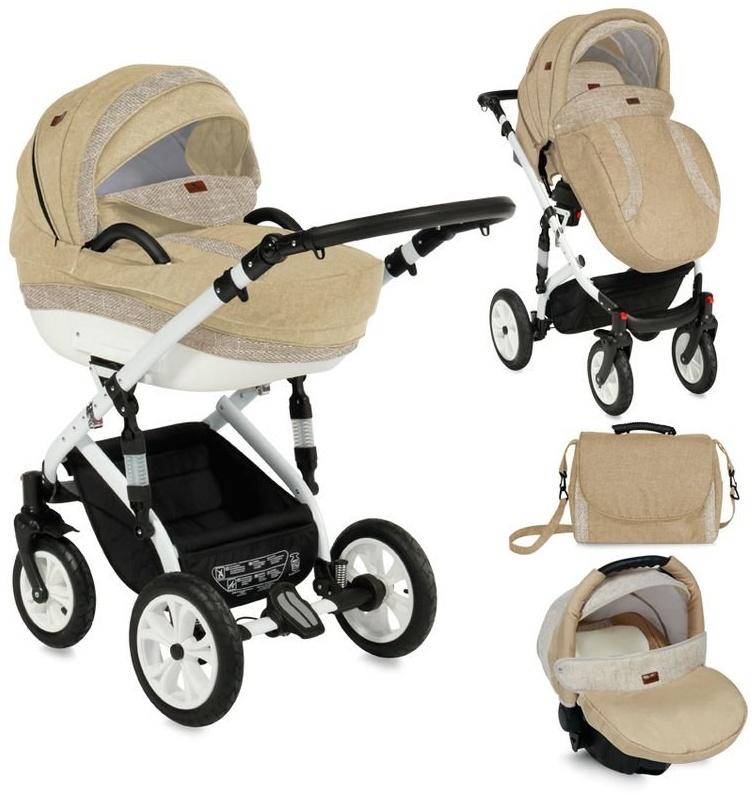 Lorelli Kombikinderwagen Mia 3 in 1 Luftreifen, Autositz, Babywanne, Sportsitz, Farbe:beige Bild 1