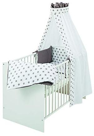Schardt Komplettbett Classic 60x120 cm, inklusiv Matratze und textiler Ausstattung Big Stars grey, weiß Bild 1