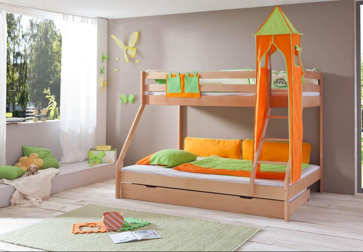 Relita 'Mike' Etagenbett natur, inkl. Bettschublade und Textilset Turm und Tasche 'grün/orange' Bild 1