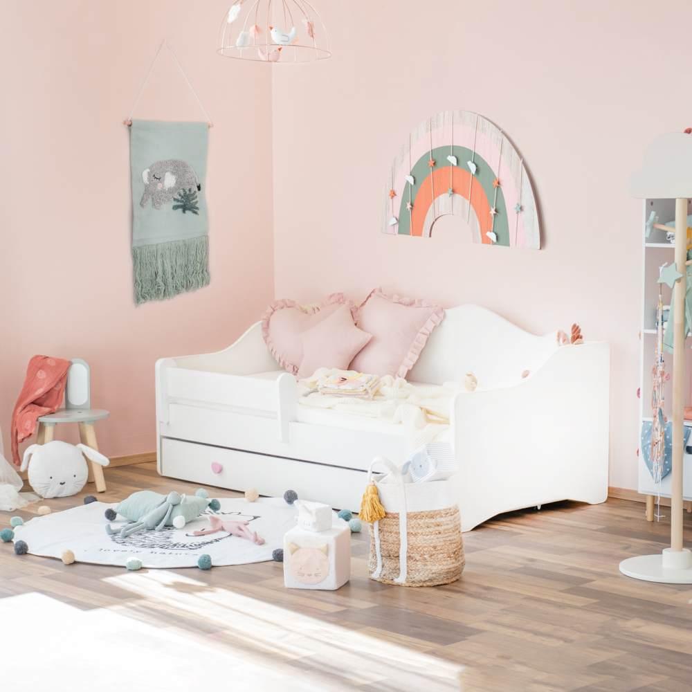Alcube 'Klara' Prinzessinenbett 80x160 cm, Weiß, mit Matratze, Bettkasten und Rausfallschutz Bild 1