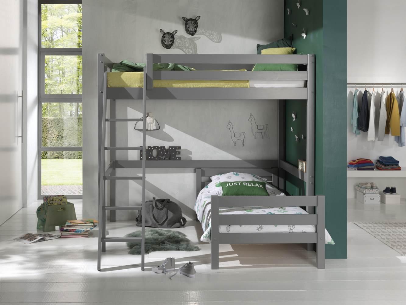 Vipack Winkel Hochbett mit 2 Liegeflächen 140/90 x 200 cm, Ausf. grau lackiert Bild 1