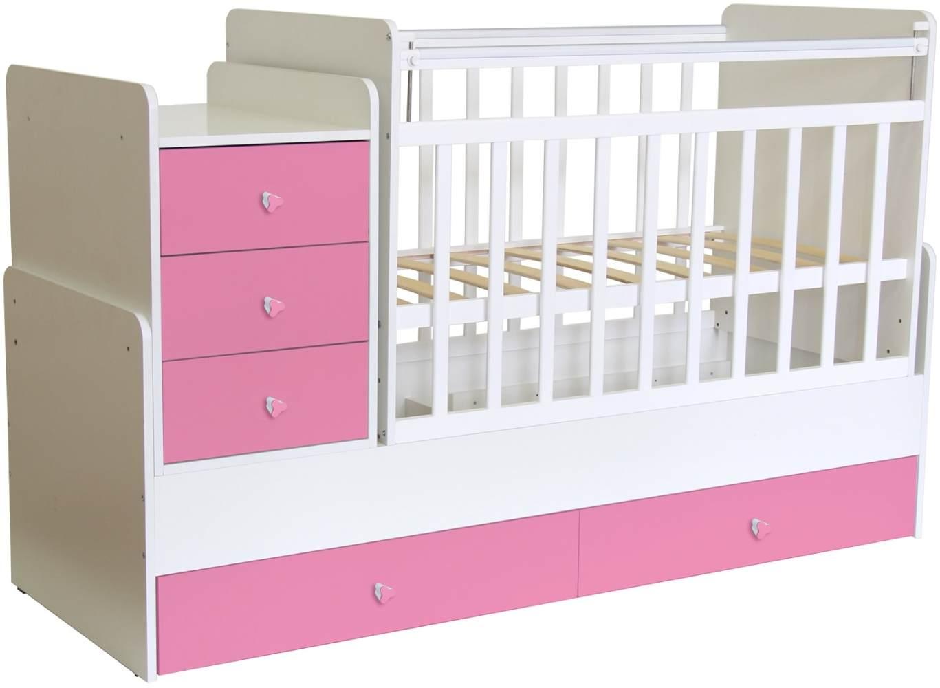 Polini Kids 'Simple 1100' Kombi-Kinderbett 60 x 120/170 cm, weiß/rosa, höhenverstellbar, mit Schaukelfunktion, inkl. Kommode Bild 1
