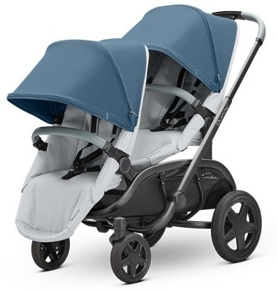 Quinny 'Hubb Duo' Geschwisterwagen, Blue Coral on Grey Bild 1