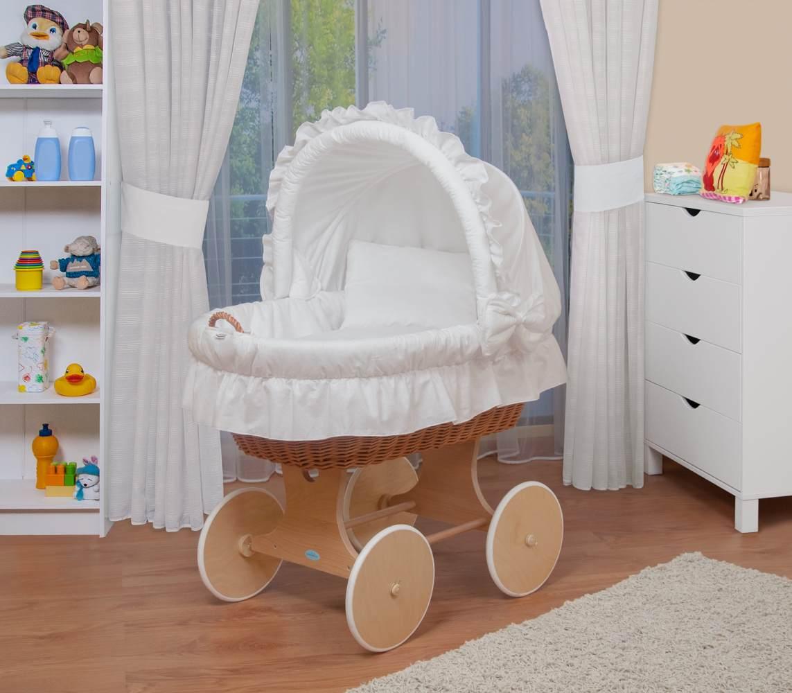 WALDIN Stubenwagen-Set mit Ausstattung, Ausstattung weiß, Gestell/Räder natur Bild 1