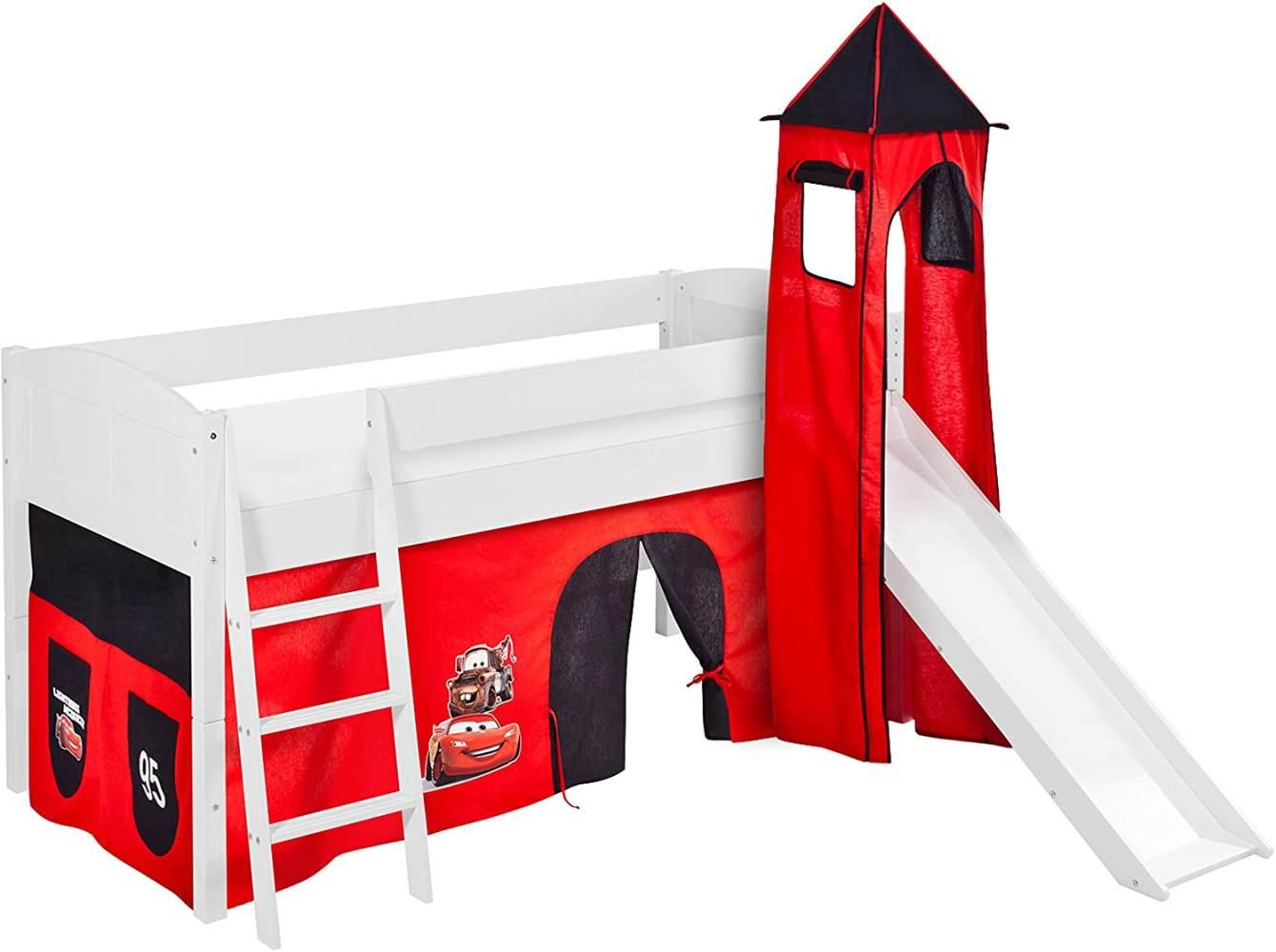 Lilokids 'Ida 4106' Spielbett 90 x 200 cm, Disney Cars, Kiefer massiv, mit Turm, Rutsche und Vorhang Bild 1