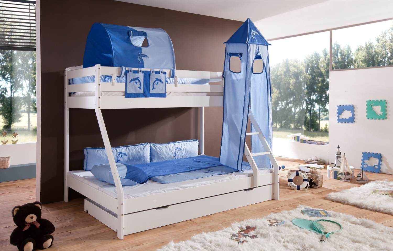 Relita 'Mike' Etagenbett weiß, inkl. Bettschublade und Textilset 1-er Tunnel, Turm und Tasche 'blau/delfin' Bild 1