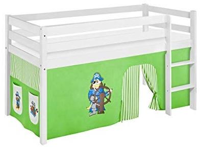 Lilokids 'Jelle' Spielbett 90 x 190 cm, Pirat Grün Beige, Kiefer massiv, mit Vorhang Bild 1