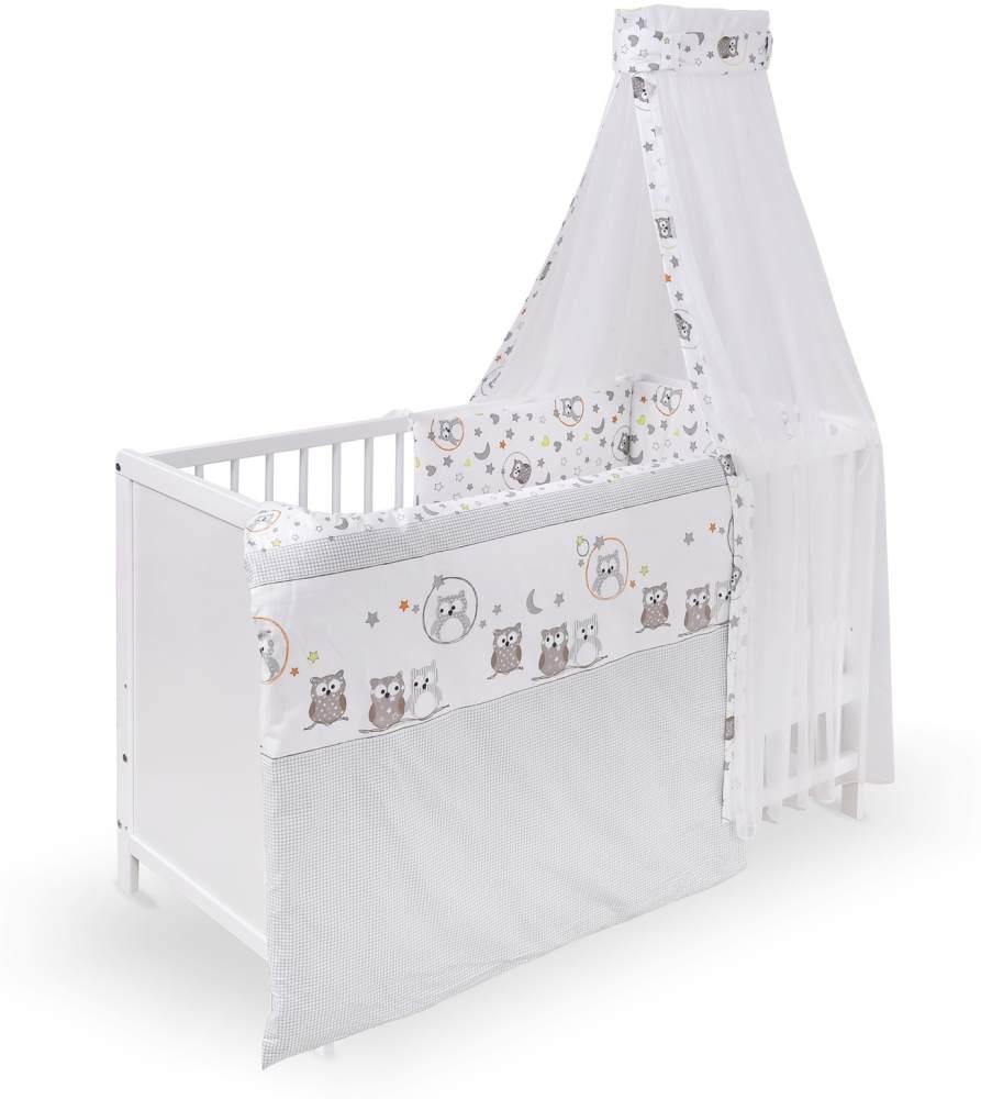 Urra Komplett-Kinderbett Luca 60x120 cm Kiefer weiß Eulenpaar Bild 1