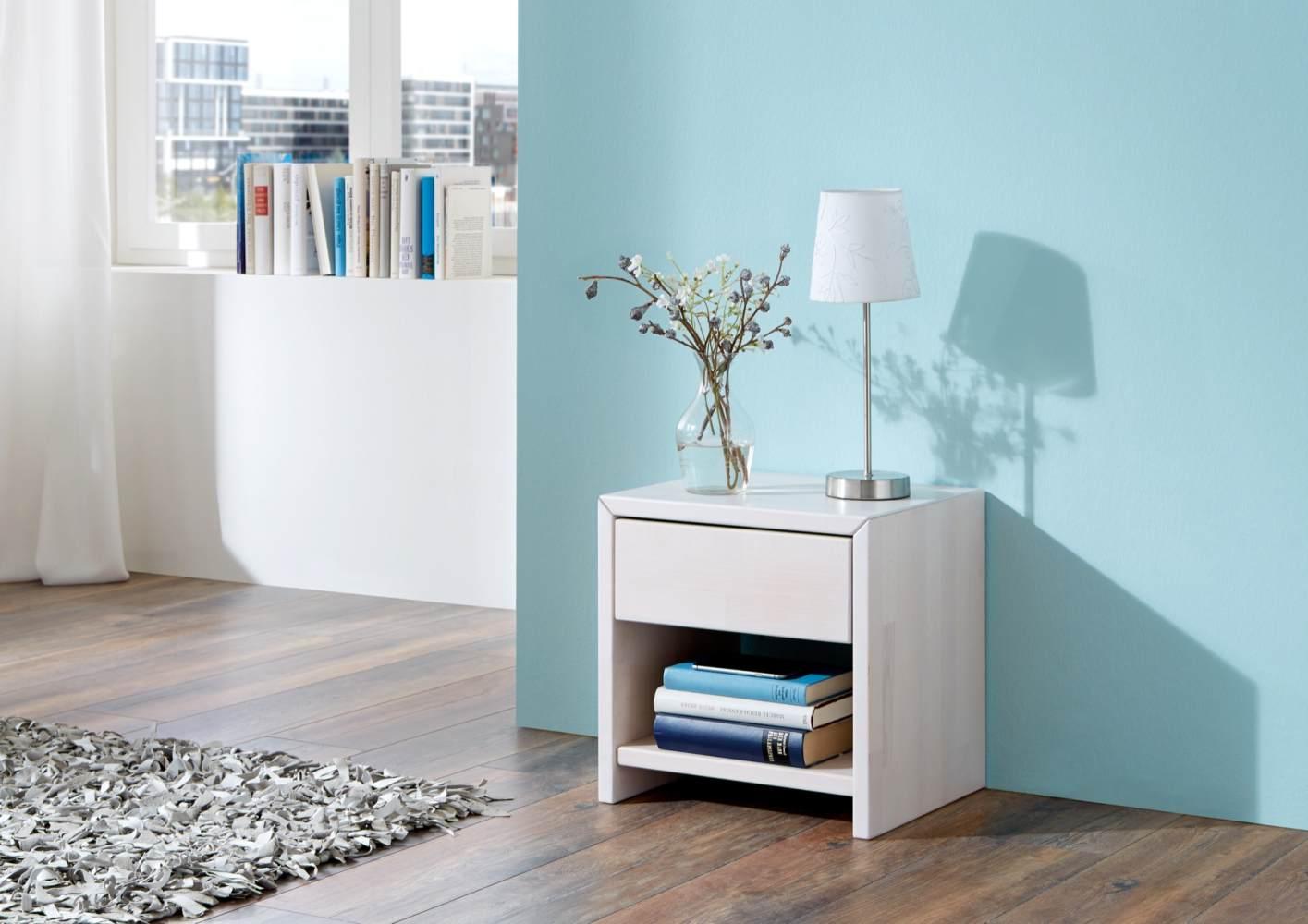 Relita 'Julia' Nachttisch mit 1 Schublade, Buche white wash Bild 1