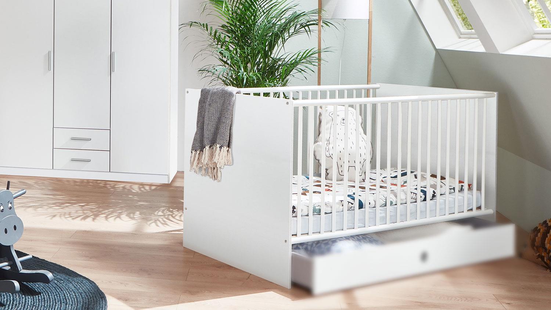 Babybett KIEL Kinderbett weiß mit Schlupfsprossen 70x140, ohne Bettschublade Bild 1