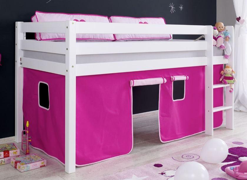 Relita 'Alex' Halbhochbett weiß, inkl. Matratze und Vorhang 'Pink/Rosa' Bild 1