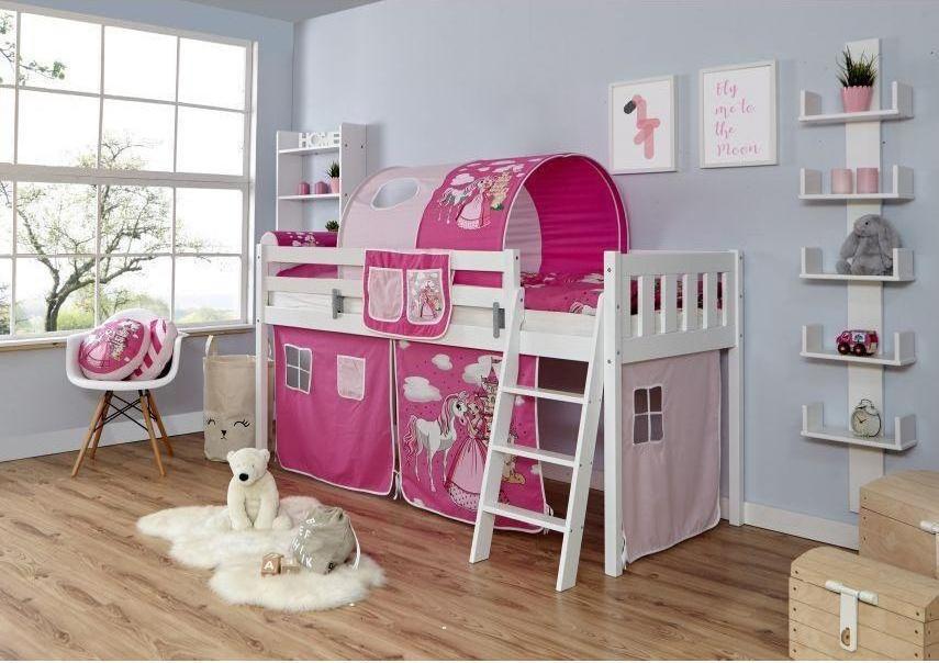 Ticaa 'Eric' Hochbett Vertikal Buche weiß, 90 x 200 cm, Vorhang Horse-Pink (Ausführung 1) Bild 1