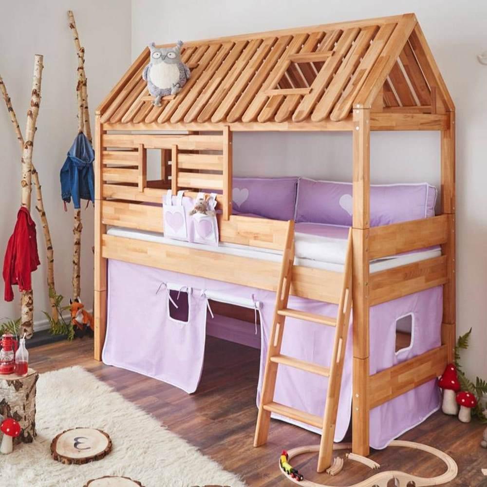 Relita Hausbett BERGEN-13 Buche massiv natur geölt, Textilset purple/weiß/Herz Bild 1