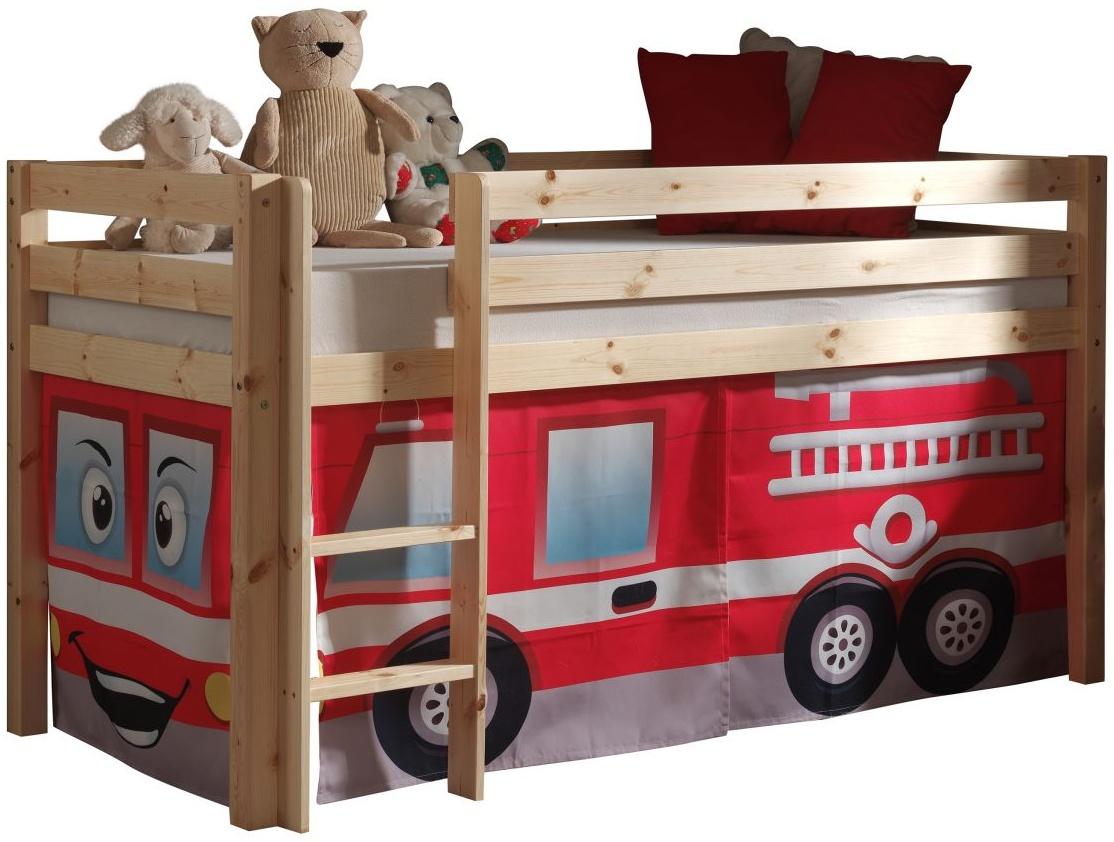 Spielbett Pino Mit Textilset Feuerwehr Kiefer Massiv Natur