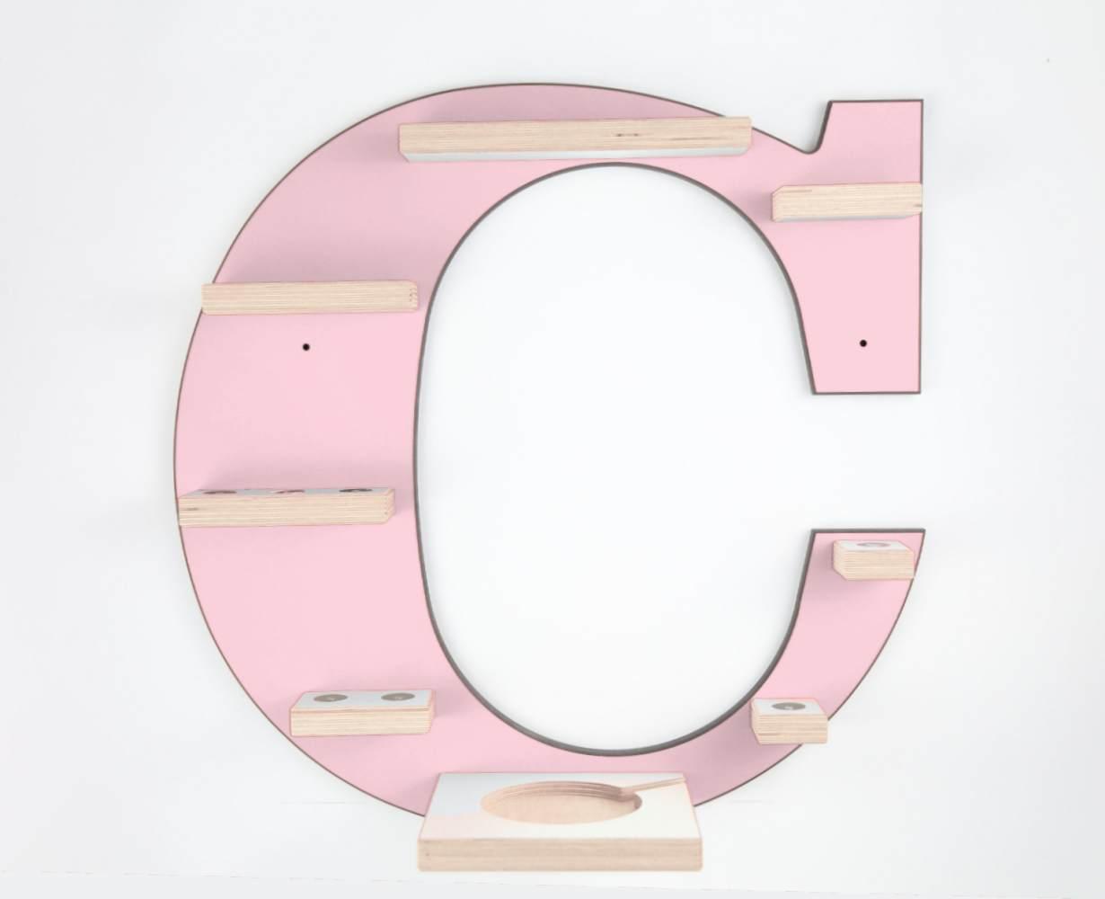 Schreinerei Linden 'Buchstabe C' Tonie Regal mit Musikboxhalter, rosa Bild 1