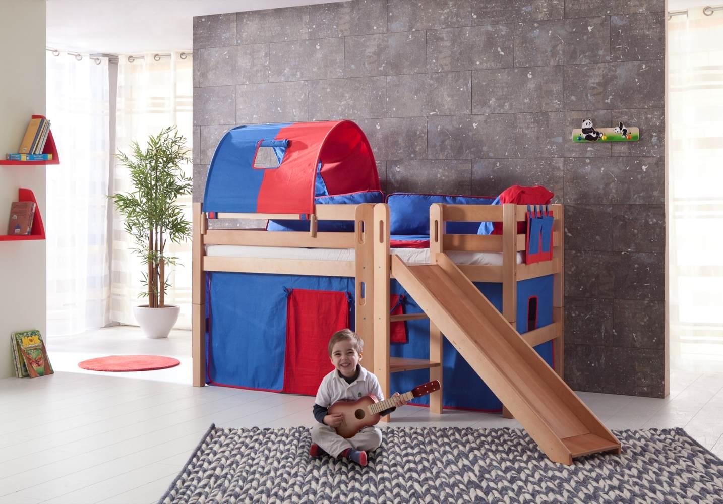 Relita 'Eliyas' Spielbett natur inkl. Rutsche und Textilset Vorhang, 1-er Tunnel und Tasche 'blau/rot' Bild 1