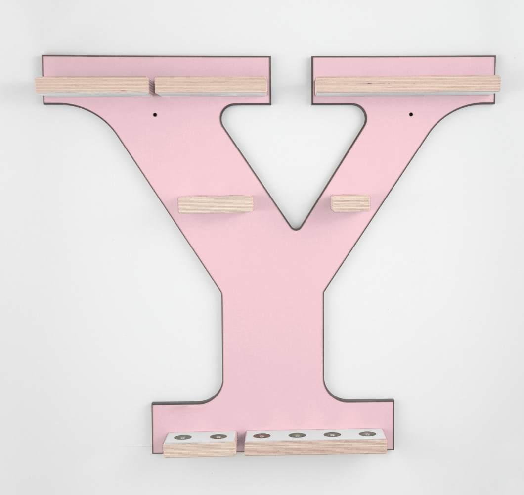 Schreinerei Linden 'Buchstabe Y' Tonie Regal ohne Musikboxhalter, rosa Bild 1